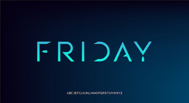 Freitag, eine abstrakte futuristische technologie alphabetschrift.