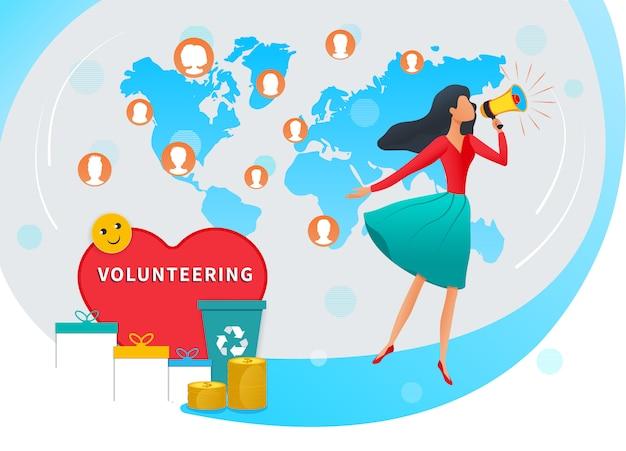Freiwillig erbieten und spendenvektor-illustrationskonzept sammelnd. junge frau mit megaphonanruf für freiwilligen