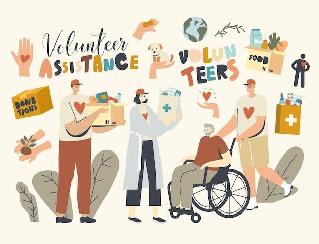 Freiwillige charaktere helfen senioren, schieben rollstuhl mit alten, gehen zusammen. mann und frau tragen taschen mit produkten und medikamenten für hilflose ältere menschen im alter. lineare vektorillustration