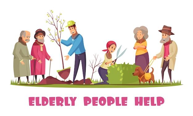 Freiwillige, die älteren menschen mit dem pflanzen von bäumen helfen, hecken zu trimmen, horizontale zusammensetzung der flachen karikatur der gartenarbeitaufgaben