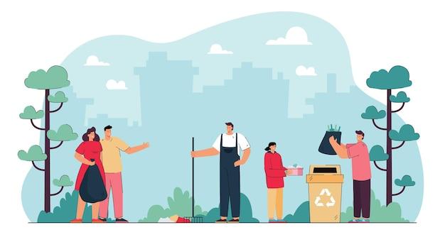 Freiwillige, die müll im stadtpark aufräumen