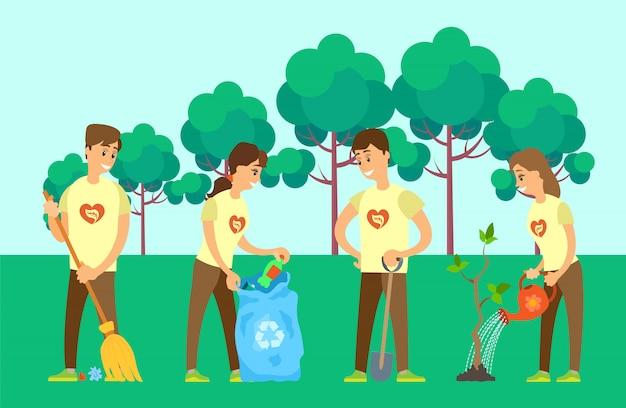 Freiwillige, die umwelt säubern und baum wachsen