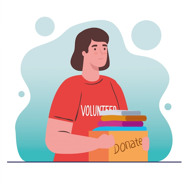 Freiwillige frau, die spendenbox mit spendenkonzept für kleidung, wohltätigkeit und sozialfürsorge hält