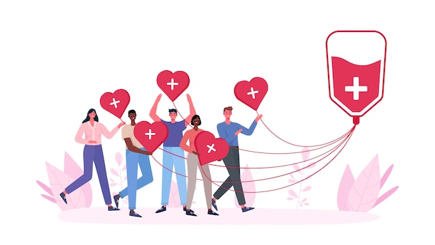 Freiwillige frau und mann spenden blut. wohltätigkeitsorganisation für blutspender.