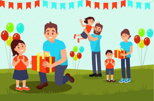 Freiwillige geben kleinen kindern geschenke. wohltätigkeitsveranstaltung für kinder. szene mit flaggenfahnen und luftballons. flaches design