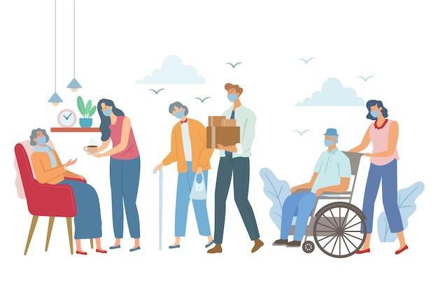 Freiwillige helfen älteren menschen beim setzen