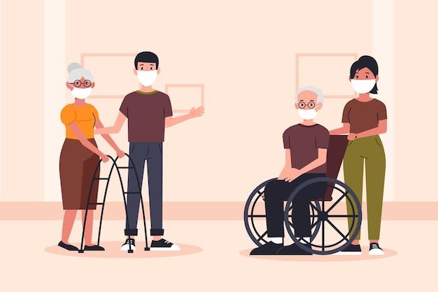 Freiwillige helfen älteren menschen