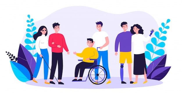 Freiwillige helfen behinderten menschen