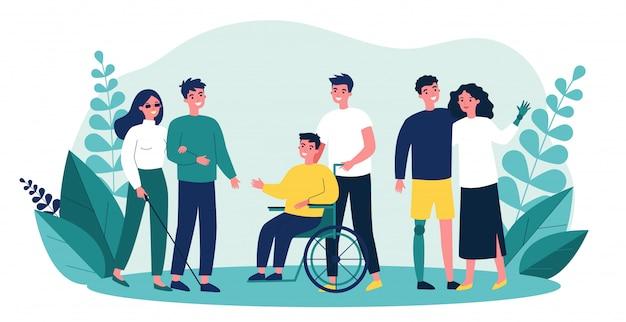 Freiwillige helfen behinderten menschen Premium Vektoren