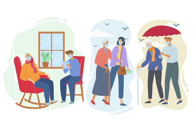 Freiwillige helfen beim sammeln älterer menschen