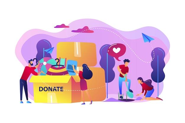 Freiwillige helfen gerne, pflanzen samen und spenden kleidung und spielzeug in eine kiste. freiwilligenarbeit, freiwilligendienst, altruistisches konzept der beruflichen tätigkeit.