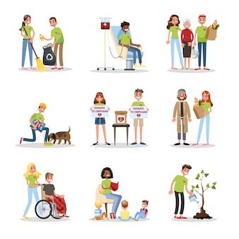 Freiwillige helfen menschen zu setzen. sammlung von wohltätigkeit