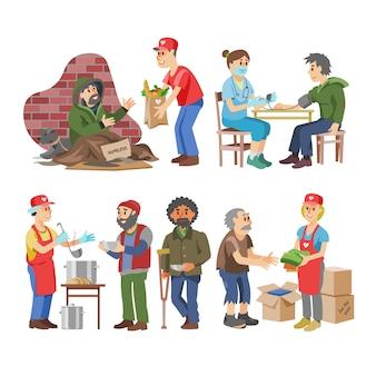 Freiwillige helfer, die ältere behinderte oder blinde charaktere pflegen, und freiwillige spenden oder wohlfahrtsillustrationen setzen freiwillige soziale gemeinschaft auf weißem hintergrund
