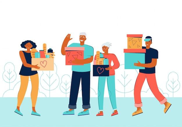 Freiwillige hilfe für ältere menschen. spendenbox aus pappe mit verschiedenen lebensmitteln und produkten für arme menschen. unterstützen sie soziale betreuung, freiwilligenarbeit und wohltätigkeit. karikatur flache illustration