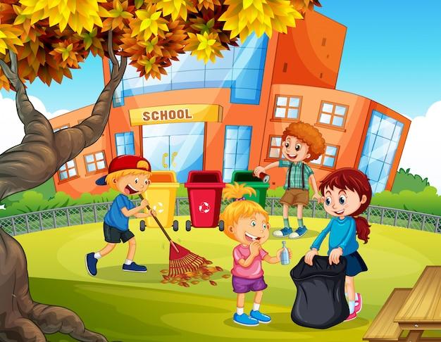 Freiwillige kinder, die schule aufräumen