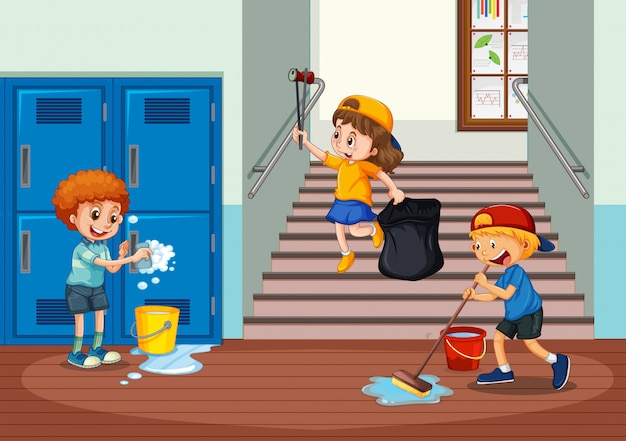 Freiwillige kinder, die schuleflur säubern
