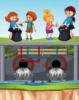 Freiwillige kinder, die überschüssiges abwasser aufräumen