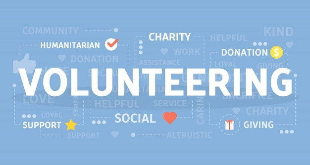 Freiwillige konzeptillustration. idee der kostenlosen hilfe und arbeit.