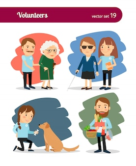Freiwillige kümmern sich um ältere und behinderte menschen