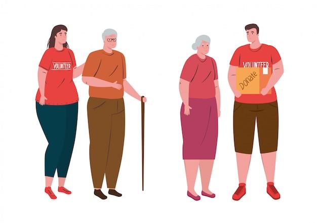 Freiwillige menschen mit altem ehepaar, wohltätigkeits- und sozialspendenkonzept