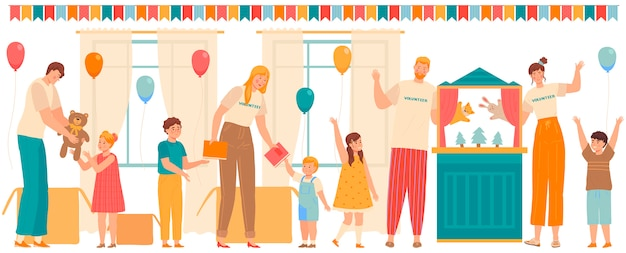 Freiwillige menschen spielen mit kindern und geben kindern im waisenhaus oder in der schule geschenke, illustration