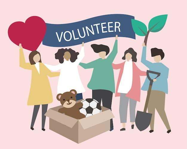 Freiwillige mit wohltätigkeitsikonenillustration