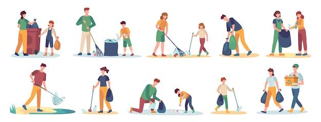Freiwillige sammelt müll. männer, frauen und kinder reinigen die natur vom müllsatz. isolierte vektorfamilie nimmt abfälle auf und sortiert sie. illustration freiwillige leute sammeln zusammen müll
