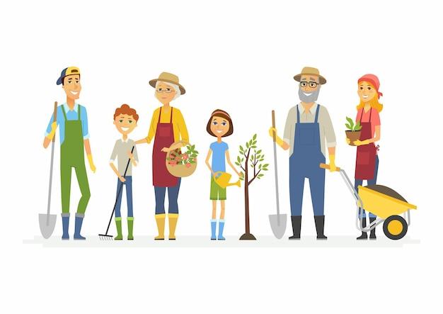 Freiwillige samstagsarbeit - karikaturleutecharaktere lokalisierten illustration auf weißem hintergrund. familien und freunde arbeiten im garten, stadtpark, stand mit spaten, pflanze, wagen, gießkanne, rechen