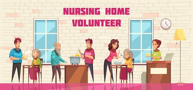 Freiwillige sozialhilfe und unterstützung für ältere menschen in der horizontalen fahne der flachen karikatur des pflegeheims