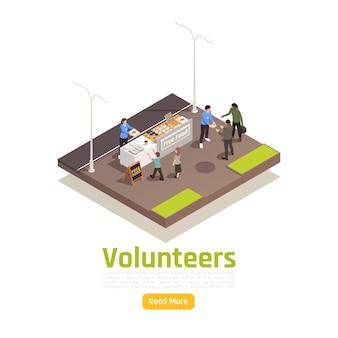 Freiwillige spende freiwilligenarbeit isometrische illustration mit bearbeitbarem text lesen sie mehr knopf und outdoor-food-sharing-zusammensetzung