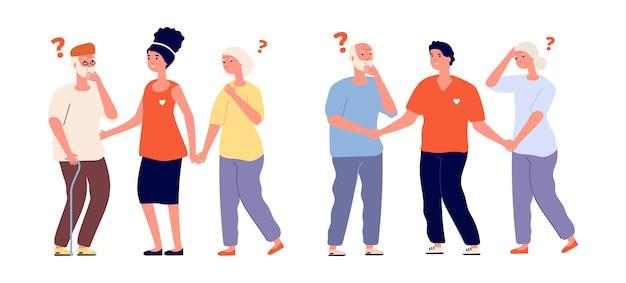 Freiwillige und ältere menschen. gedächtnisverlust alter menschen bei männlichen sozialarbeitern. isolierte freundliche frau und mann helfen senioren-vektor-illustration. pflege ehrenamtlich für ältere menschen, ehrenamtliches engagement und unterstützung