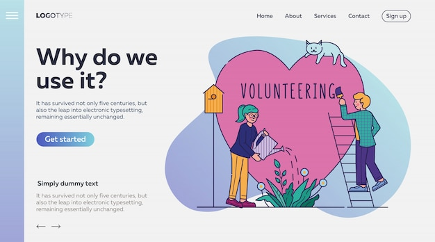 Freiwillige vektorillustration der wohltätigkeitspersonen