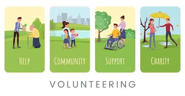 Freiwilligenarbeit flache banner vorlagen festgelegt