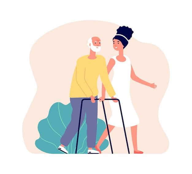 Freiwilligenarbeit für mädchen. junge frau und alter mann, krankenschwester und patient. rehabilitationshilfe, medizinische unterstützung während der erholungsvektorillustration. freiwillige helferin hilft altem mann