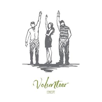 Freiwilligenarbeit, hilfe, gemeinsam spendenkonzept. hand gezeichnete gruppe von freiwilligen hob ihre hände hoch konzept skizze.