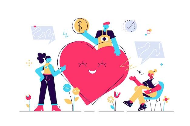 Freiwilligenarbeit. stilisiertes und abstraktes team hilft wohltätigkeit und teilt hoffnung. fürsorge, liebe und gute herzensgemeinschaft unterstützen arme, obdachlose und ältere menschen. stil moderne illustration.