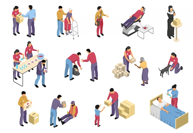 Freiwilligenarbeit und charity isometric set