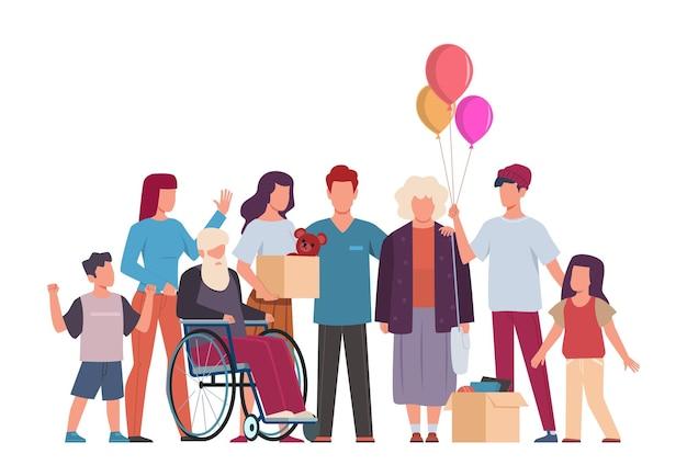 Freiwilligengruppe. freiwilligenarbeit und unterstützung von menschen, gemeinschaft, die sich um behinderte kümmert, unterstützt alte und kranke menschen, gibt essen und kleidung, vektor-wohltätigkeitskonzept