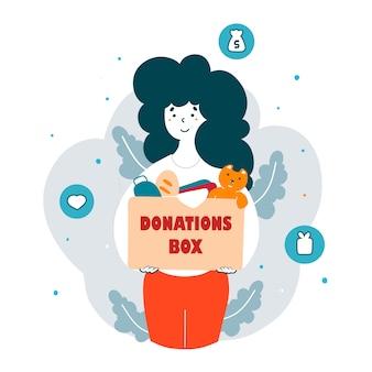 Freiwilligenteam sammeln spenden flache illustration