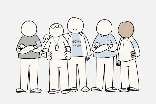 Freiwilliger doodle-vektor, unterstützendes konzept
