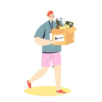 Freiwilliger junger cartoon-mann, der eine schachtel mit lebensmitteln für eine spende hält