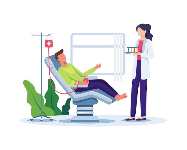 Freiwilliger männlicher charakter, der im medizinischen krankenhausstuhl sitzt und blut spendet weltblutspendetag