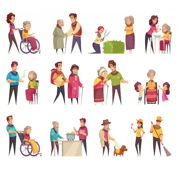 Freiwilligerfamilienunterstützungsflacher karikatur-elementsatz der professionellen sozialhilfearbeitskraft der älteren menschen lokalisiert