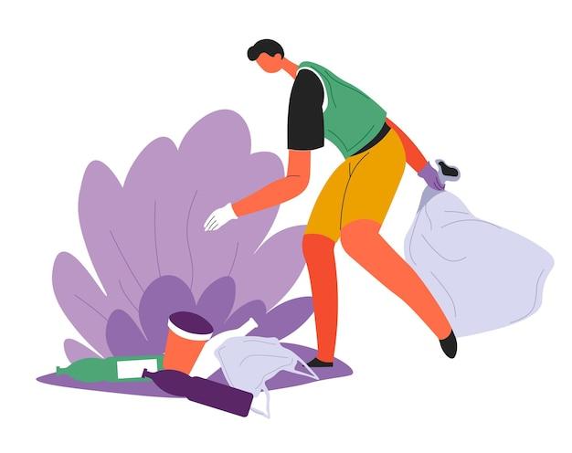 Freiwilliges sammeln von zurückgelassenem müll, ökologisches bewusstsein und aktive haltung gegenüber müllverschmutzung. öko-aktivist mit tasche, die naturlandschaften von plastik und entsorgung säubert, vektor in flach
