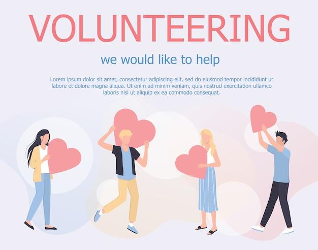 Freiwilliges web-banner-konzept. ein team von freiwilligen hilft menschen, wohltätigkeitsorganisationen und spendenprojekten. herzen als metapher der philanthropie. illustration