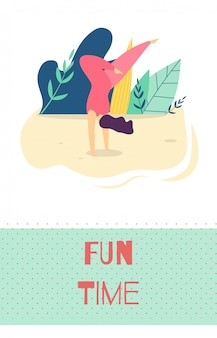 Freizeit im freien erholung motivation flat card
