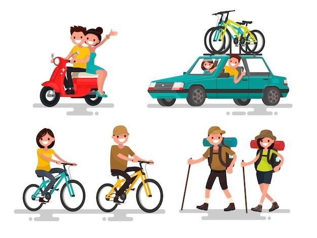 Freizeit. junges paar, das fahrrad reitet, reist, wanderte illustration
