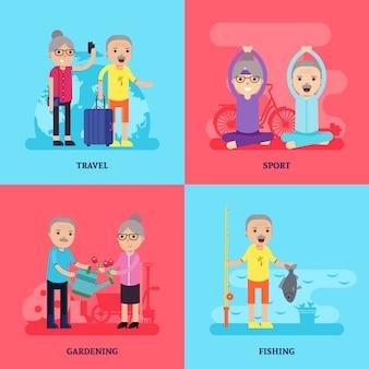 Freizeitaktivität flat concept