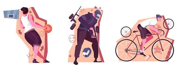 Freizeitaktivitäten flache kompositionen mit männlichen personen, die paintball-basketball spielen und fahrrad fahren