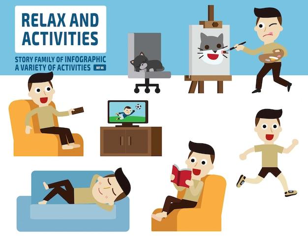 Freizeitaktivitäten. infografik-elemente.
